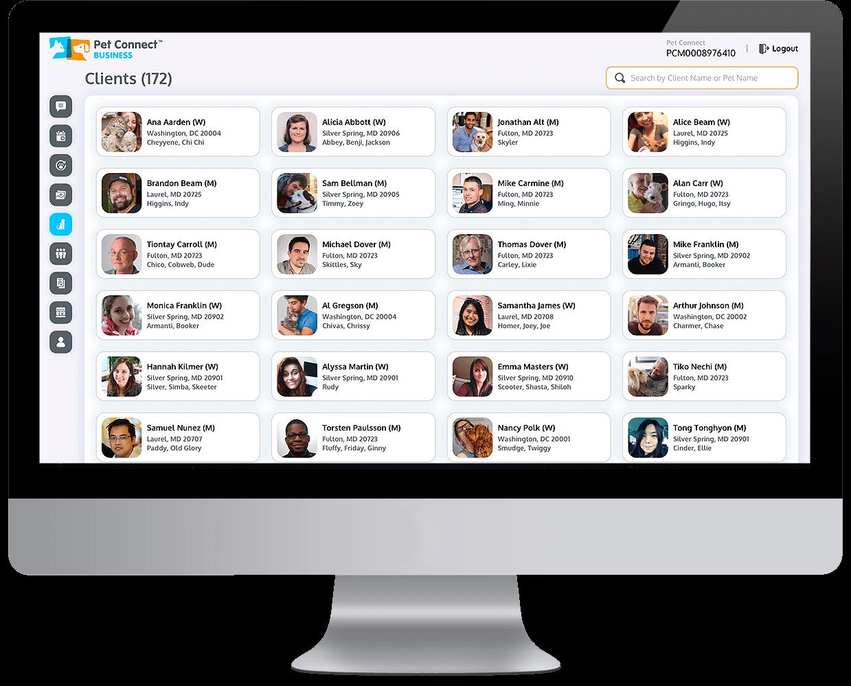 Pet services management sytem Client database desktop view